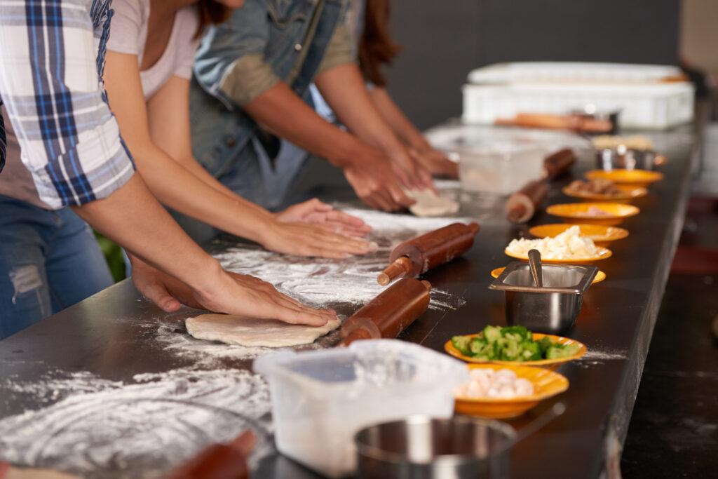 Team event cooking workshop